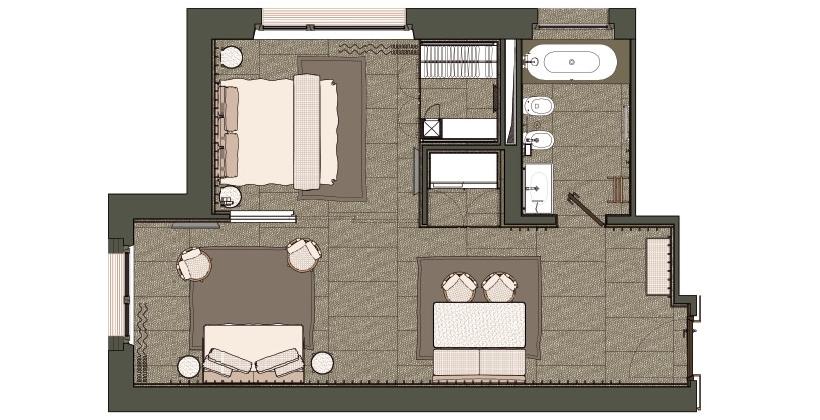 Suite ampia e spaziosa divisa in zona giorno e zona notte for La zona notte